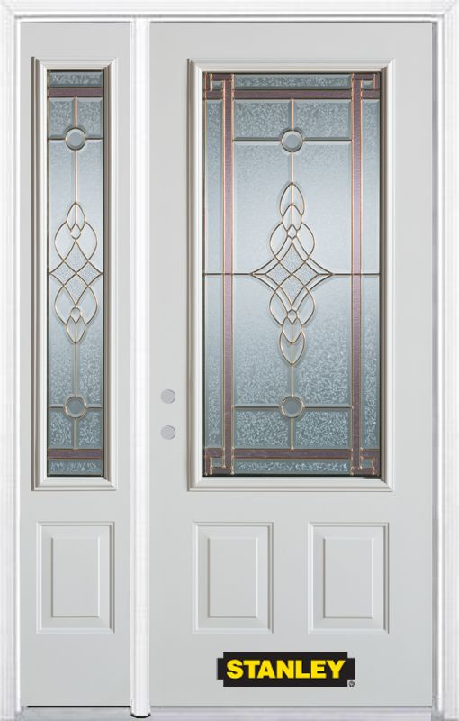 Stanley Doors 52.75 inch x 82.375 inch Milano Brass 3/4 Lite 2-Panel Prefinished White Right-Hand Inswing Steel Prehung Front Door with Sidelite and Brickmould - ENERGY STAR®