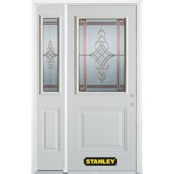 Stanley Doors 50.25 inch x 82.375 inch Milano Brass 1/2 Lite 1-Panel Prefinished White Left-Hand Inswing Steel Prehung Front Door with Sidelite and Brickmould - ENERGY STAR®