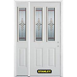 Stanley Doors Porte dentrée en acier préfini en blanc, munie de deux panneaux et de deux verre, 51 po x 82 po avec panneaux latéraux et moulure de brique - ENERGY STAR®