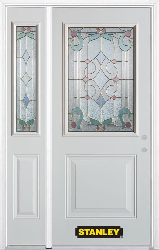 Stanley Doors 52.75 inch x 82.375 inch Aristocrat Brass 1/2 Lite 1-Panel Prefinished White Left-Hand Inswing Steel Prehung Front Door with Sidelite and Brickmould