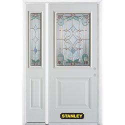 Stanley Doors 50.25 inch x 82.375 inch Aristocrat Brass 1/2 Lite 1-Panel Prefinished White Left-Hand Inswing Steel Prehung Front Door with Sidelite and Brickmould - ENERGY STAR®