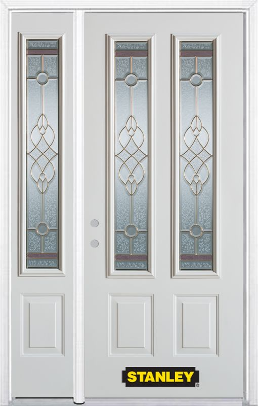 48-inch x 82-inch Milano 2-Lite 2-Panel White Steel Entry Door with Sidelite and Brickmould