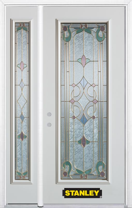 52-inch x 82-inch Aristocrat Full Lite White Steel Entry Door with Sidelite and Brickmould