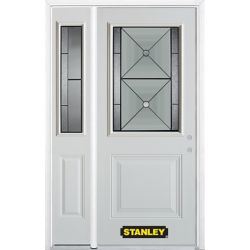 Stanley Doors 48.25 inch x 82.375 inch Bellochio Patina 1/2 Lite 1-Panel Prefinished White Left-Hand Inswing Steel Prehung Front Door with Sidelite and Brickmould