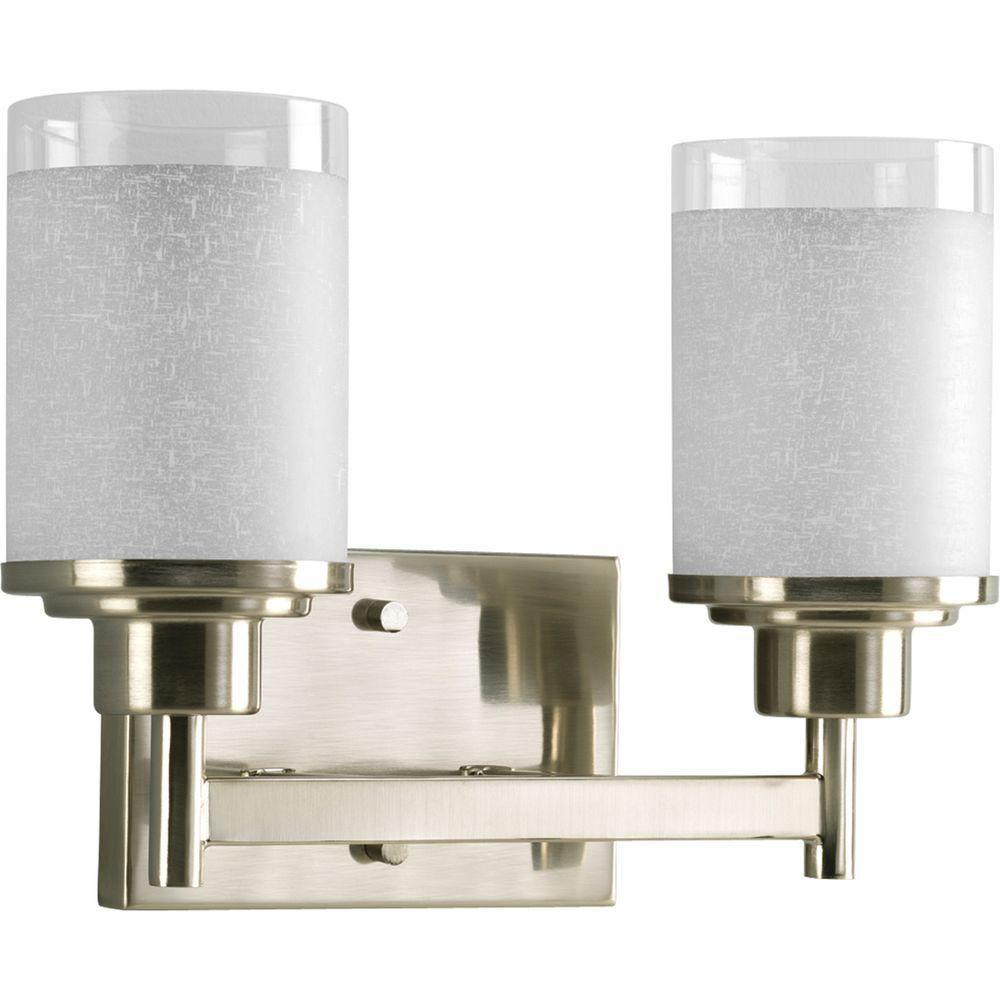 Progress lighting alexa collection brushed nickel 2 light for Bathroom light fixtures home depot