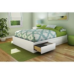 South Shore Full Storage Bed in Pure White with 3 Drawers