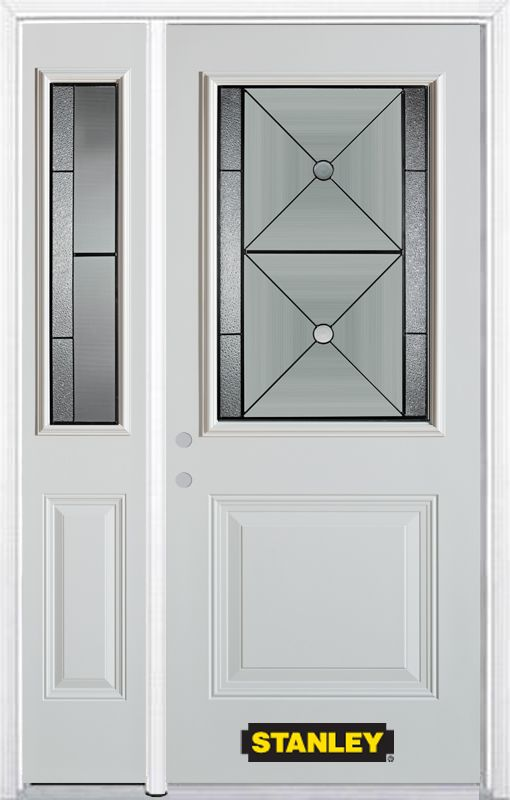 48-inch x 82-inch Bellochio 1/2-Lite 1-Panel White Steel Entry Door with Sidelite and Brickmould