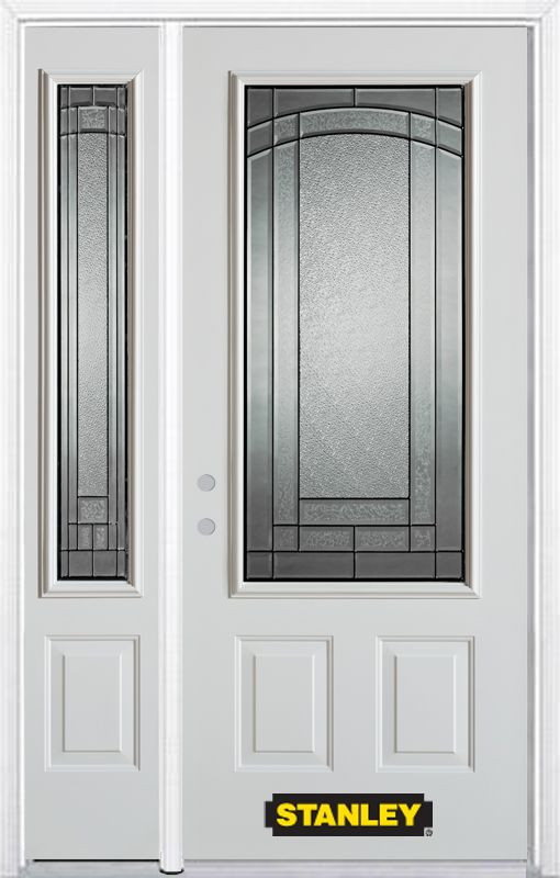 Stanley Doors 52 Inch X 82 Inch Chatham 3 4 Lite 2 Panel White Steel Entry Do