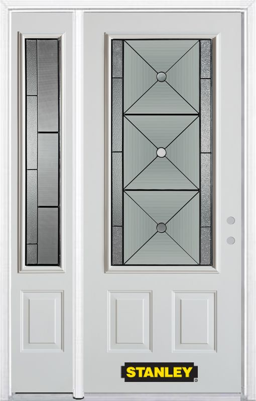 48-inch x 82-inch Bellochio 3/4-Lite 2-Panel White Steel Entry Door with Sidelite and Brickmould