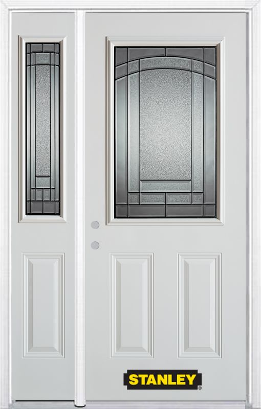52-inch x 82-inch Chatham 1/2-Lite 2-Panel White Steel Entry Door with Sidelite and Brickmould