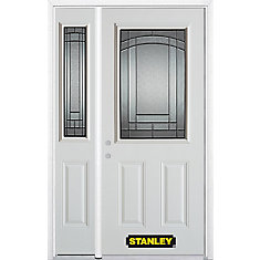 48.25 inch x 82.375 inch Chatham Patina 1/2 Lite 2-Panel Prefinished White Right-Hand Inswing Steel Prehung Front Door with Sidelite and Brickmould