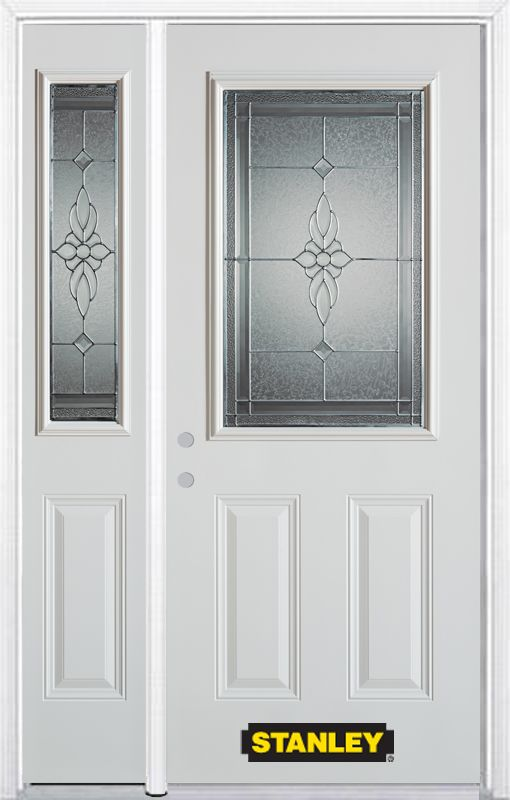 48-inch x 82-inch Victoria 1/2-Lite 2-Panel White Steel Entry Door with Sidelite and Brickmould