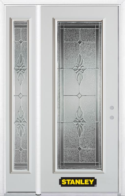52-inch x 82-inch Victoria Full Lite White Steel Entry Door with Sidelite and Brickmould