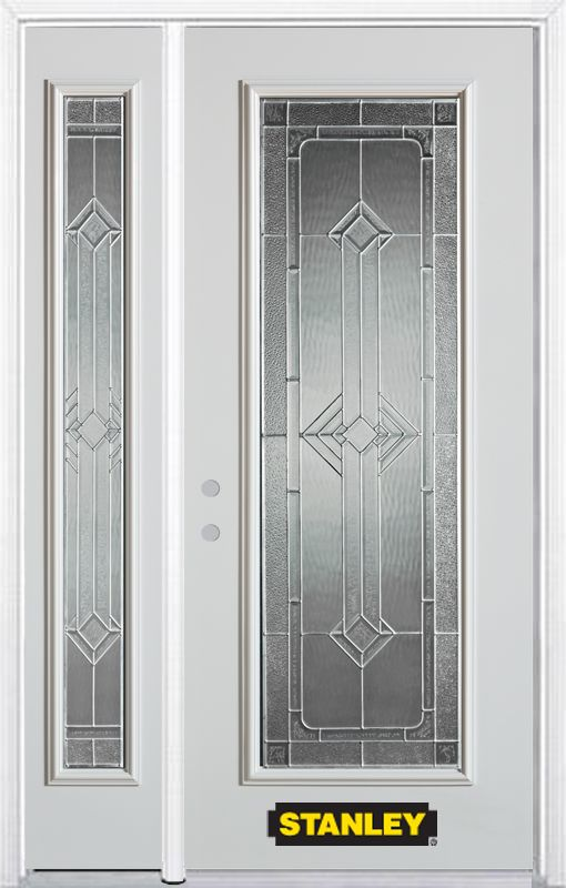 48-inch x 82-inch Neo-Deco Full Lite White Steel Entry Door with Sidelite and Brickmould