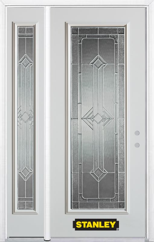 stanley doors 48 inch x 82 inch neo deco full lite white steel entry door with sidelite and