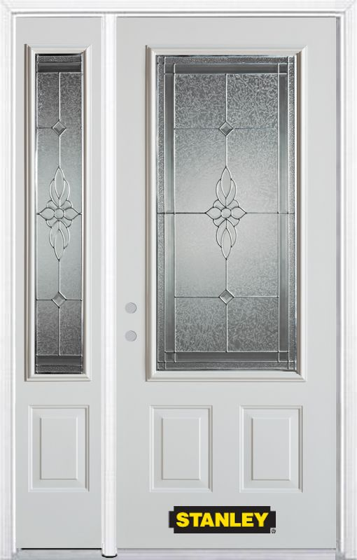 50-inch x 82-inch Victoria 3/4-Lite 2-Panel White Steel Entry Door with Sidelite and Brickmould