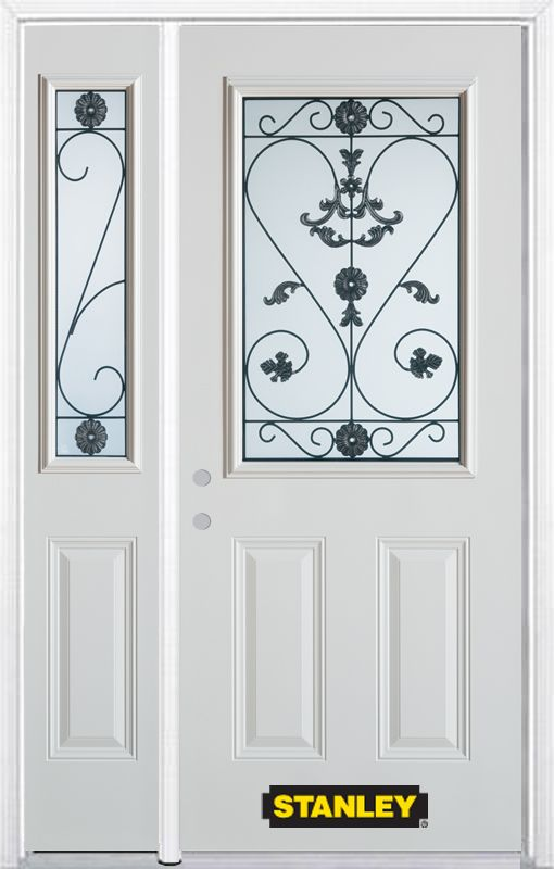 50-inch x 82-inch Blacksmith 1/2-Lite 2-Panel White Steel Entry Door with Sidelite and Brickmould