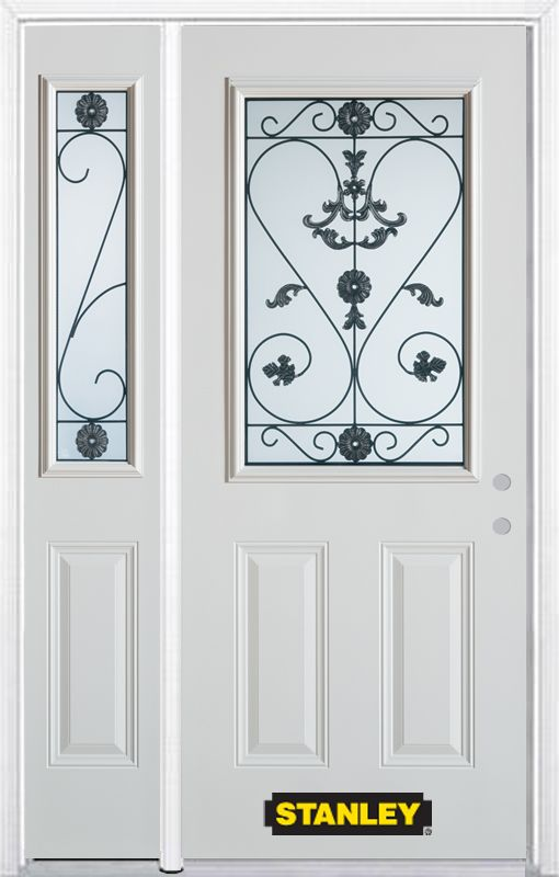 52-inch x 82-inch Blacksmith 1/2-Lite 2-Panel White Steel Entry Door with Sidelite and Brickmould