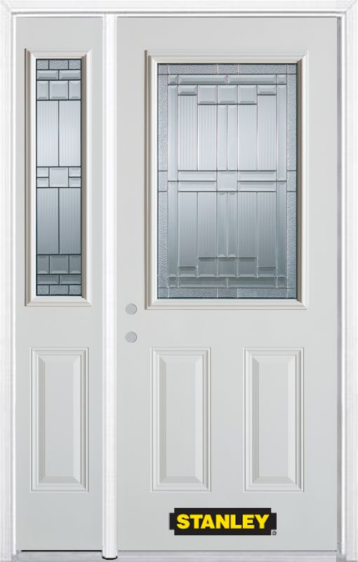 52-inch x 82-inch Seattle 1/2-Lite 2-Panel White Steel Entry Door with Sidelite and Brickmould