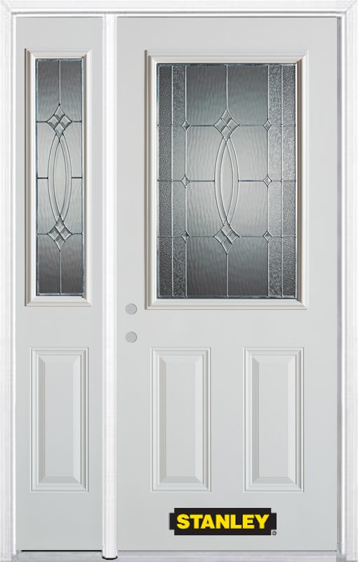 Stanley Doors 52.75 inch x 82.375 inch Diamanti Zinc 1/2 Lite 2-Panel Prefinished White Right-Hand Inswing Steel Prehung Front Door with Sidelite and Brickmould