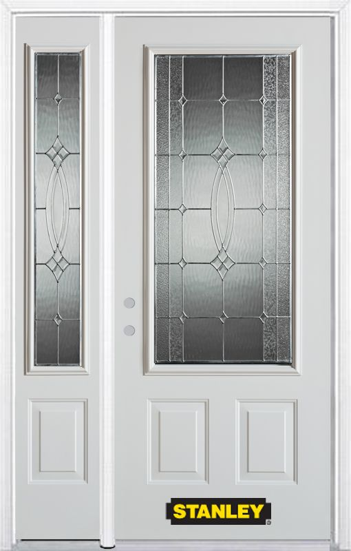 52-inch x 82-inch 3/4-Lite 2-Panel White Steel Entry Door with Sidelite and Brickmould