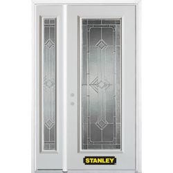 Stanley Doors 52.75 inch x 82.375 inch Neo Deco Zinc Full Lite Prefinished White Right-Hand Inswing Steel Prehung Front Door with Sidelite and Brickmould