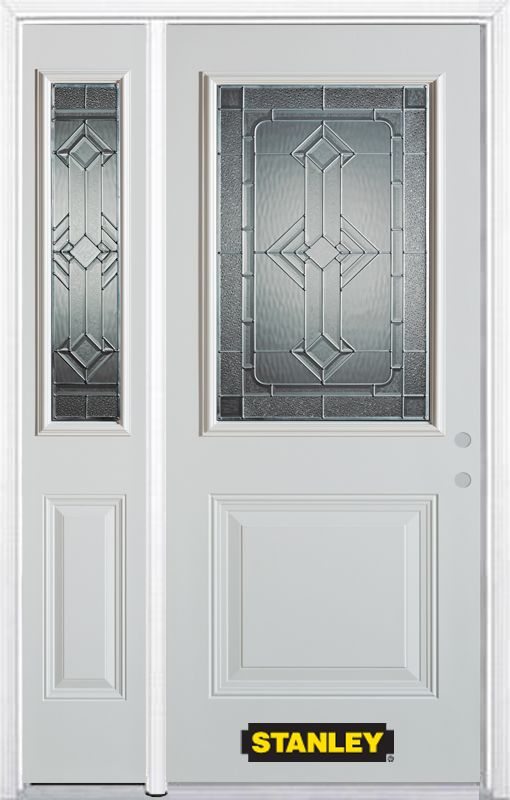 Stanley Doors 48.25 inch x 82.375 inch Neo Deco Zinc 1/2 Lite 1-Panel Prefinished White Left-Hand Inswing Steel Prehung Front Door with Sidelite and Brickmould - ENERGY STAR®