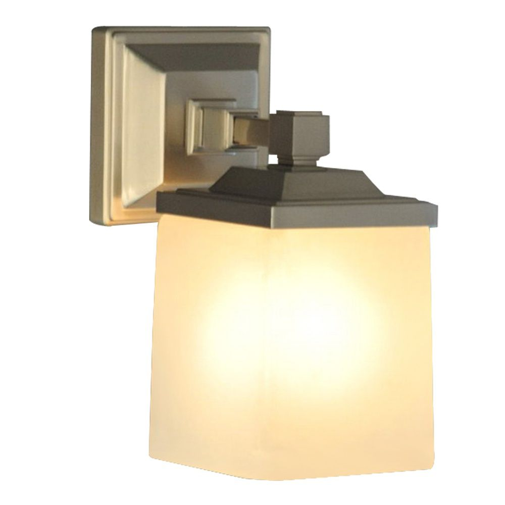 1Lt Skylands Wall Sconce in Brushed nickel with frosted glass