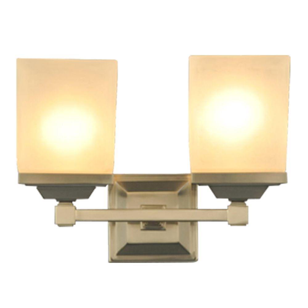 Luminaire de meuble-lavabo Skylands a deux ampoules avec fini nickel brosse