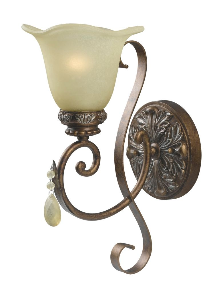 Catania Collection 1-Light Wall Sconce in Oxide Bronze with Silver