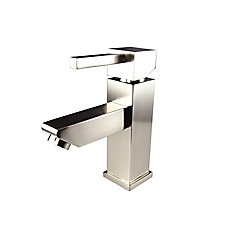 Fresca Versa Single Hole 1-Handle Low Arc Bathroom Faucet in Brushed Nickel with Lever Handle