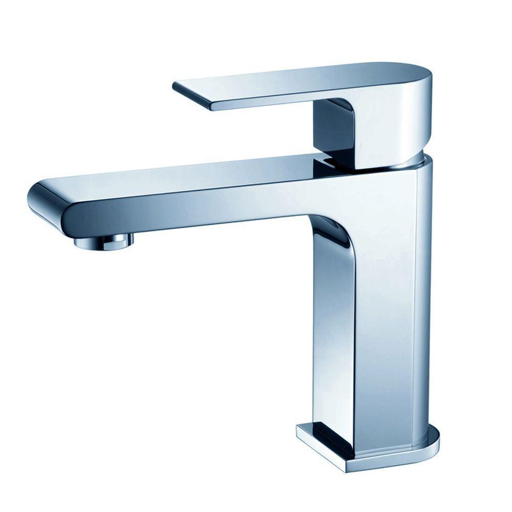 Allaro Single Hole Mount Bathroom Vanity Faucet in Chrome Finish