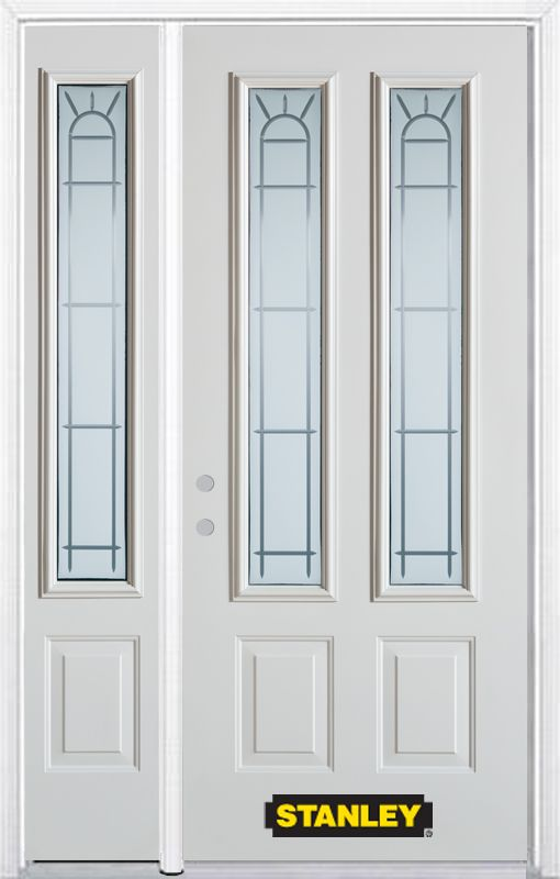 52-inch x 82-inch Chablis 2-Lite 2-Panel White Steel Entry Door with Sidelite and Brickmould