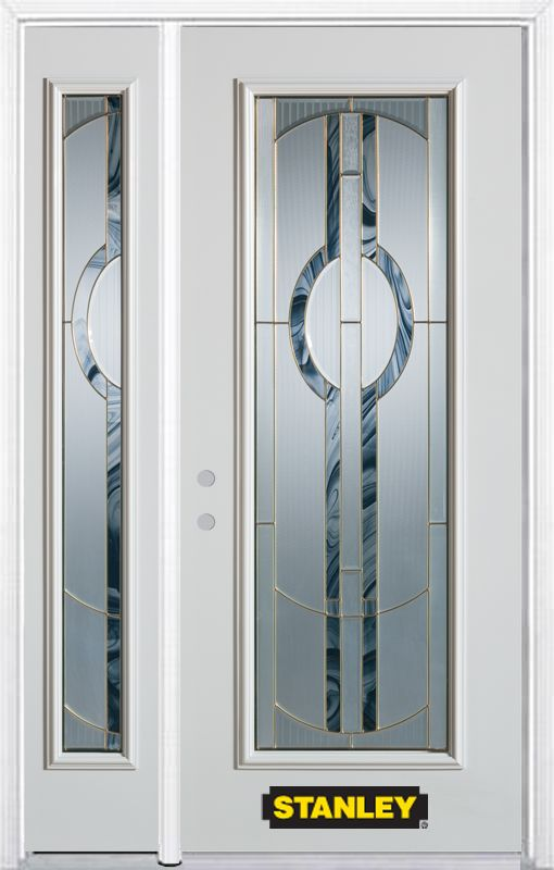 50-inch x 82-inch Stephany Full Lite White Steel Entry Door with Sidelite and Brickmould