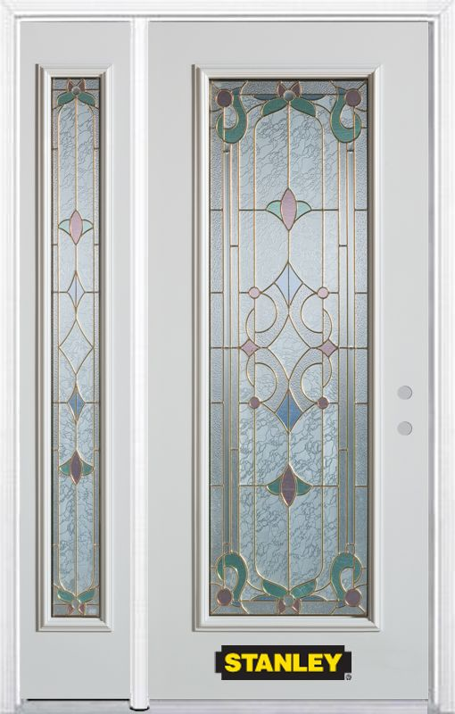 50-inch x 82-inch Aristocrat Full Lite White Steel Entry Door with Sidelite and Brickmould