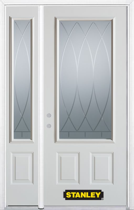 52-inch x 82-inch Bourgogne 3/4-Lite 2-Panel White Steel Entry Door with Sidelite and Brickmould