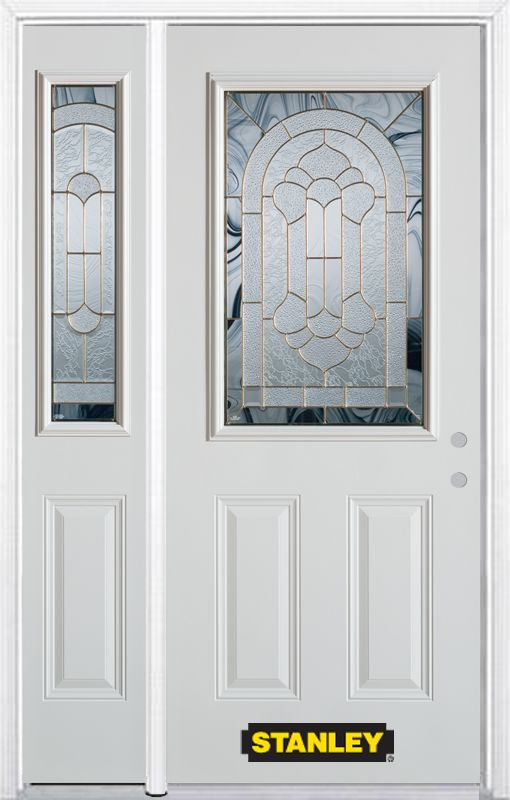 52-inch x 82-inch Radiance 1/2-Lite 2-Panel White Steel Entry Door with Sidelite and Brickmould