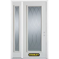 Stanley Doors 48.25 inch x 82.375 inch Bourgogne Full Lite Prefinished White Left-Hand Inswing Steel Prehung Front Door with Sidelite and Brickmould