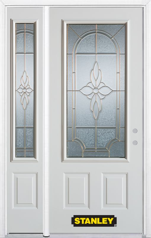48-inch x 82-inch Trellis 3/4-Lite 2-Panel White Steel Entry Door with Sidelite and Brickmould
