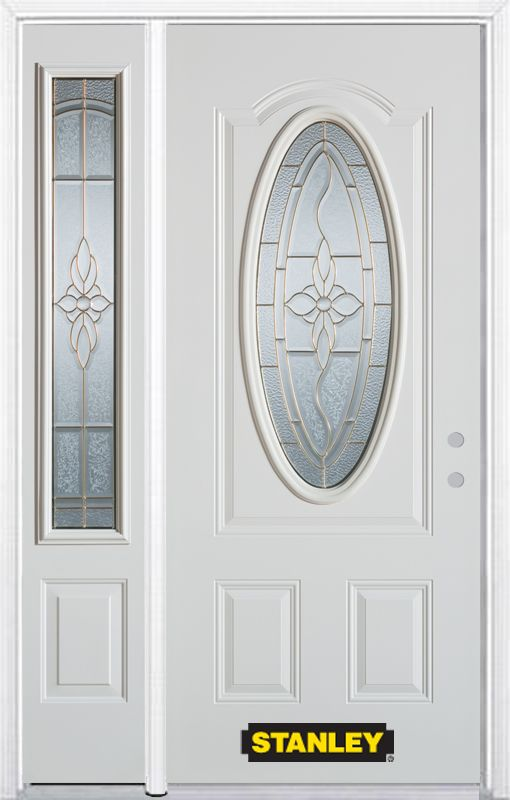 48-inch x 82-inch Trellis Oval 3/4-Lite White Steel Entry Door with Sidelite and Brickmould