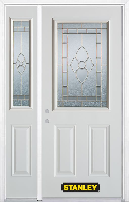 52-inch x 82-inch Marguerite 1/2-Lite 2-Panel White Steel Entry Door with Sidelite and Brickmould