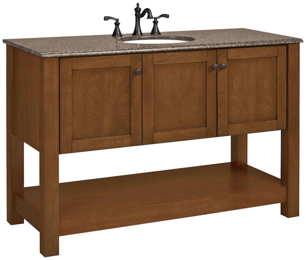 Meuble-lavabo Palisades cerisier bourbon avec dessus en granit beige -  50 po