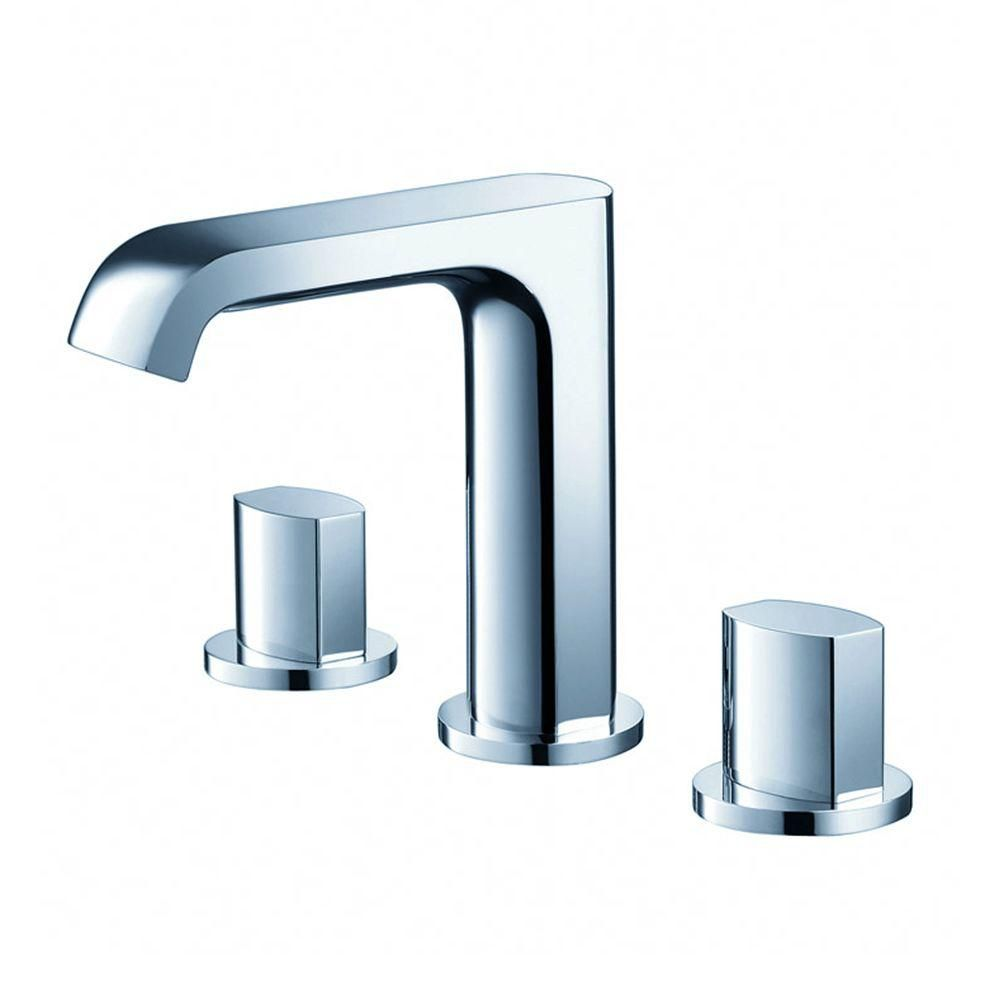 Fresca Tusciano Widespread (8-inch) 2-Handle Low Arc Bathroom Faucet in Chrome with Knob Handles