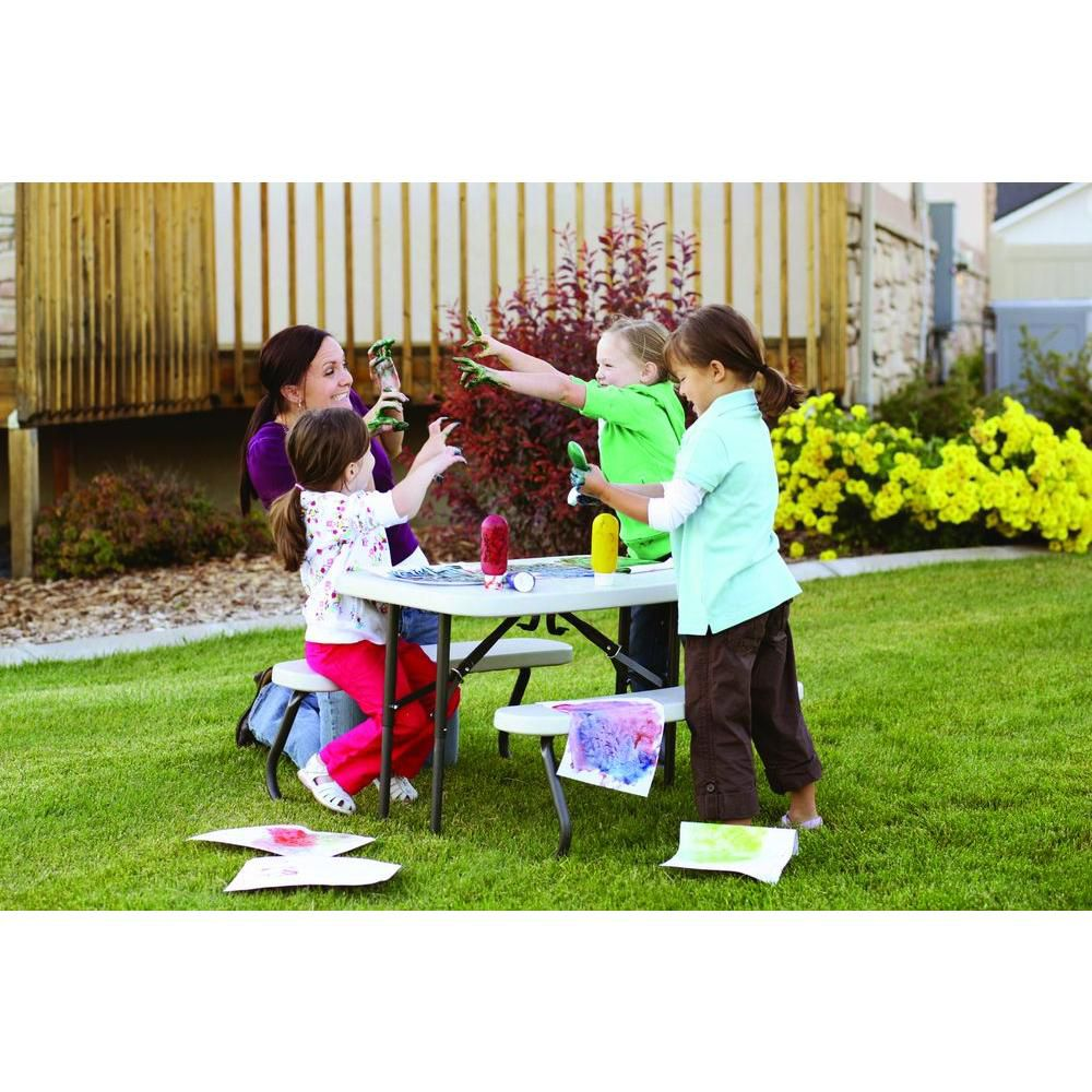 Kids Folding Picnic Table in Almond