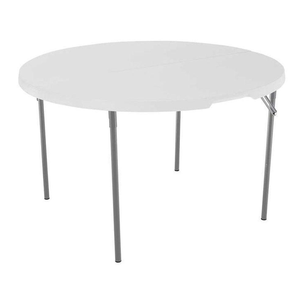 Table en plastique ronde pliante en deux de 120cm (48po)