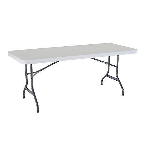 lifetime 6 ft. plastic folding banquet table in granite | the home