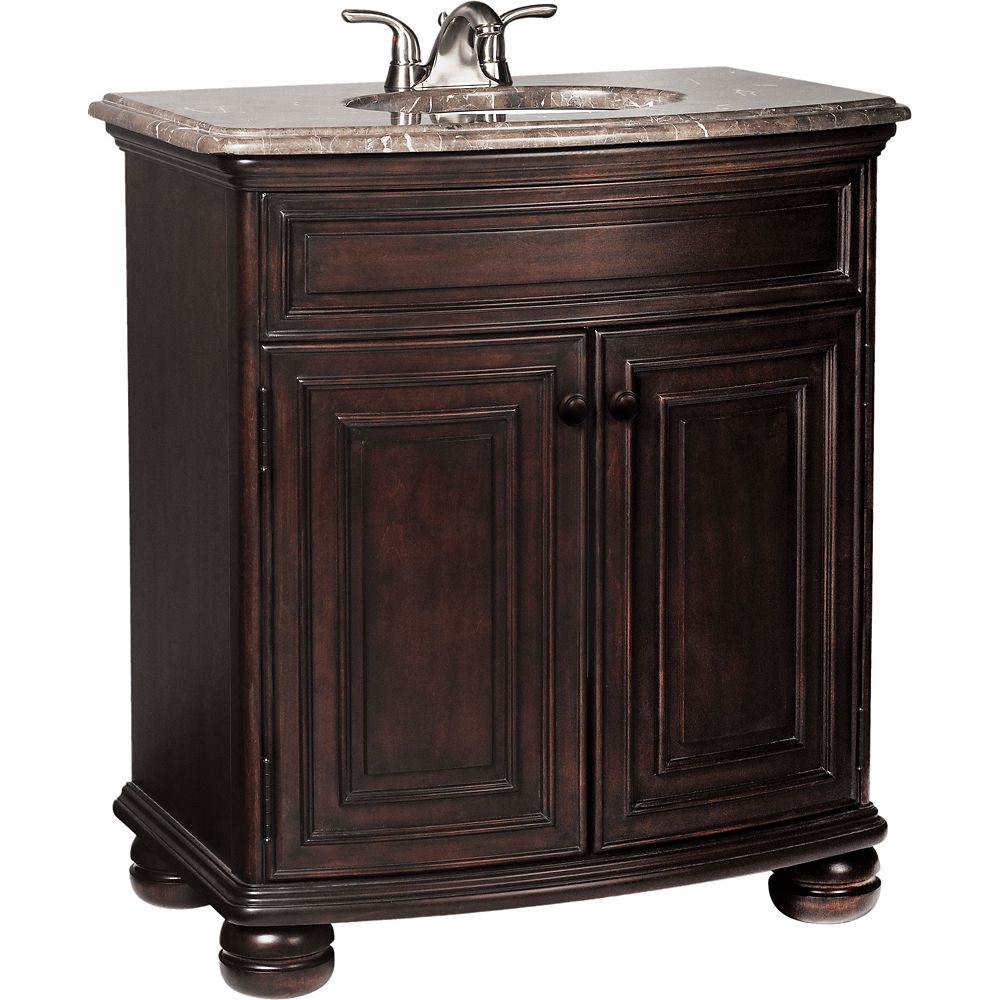Celeste Java Vanity with Cocoa Hand-crafted Stone Vanity Top - 31 Inch Wide