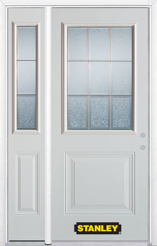 Stanley Doors 52.75 inch x 82.375 inch Diana Brass 1/2 Lite 1-Panel Prefinished White Left-Hand Inswing Steel Prehung Front Door with Sidelite and Brickmould