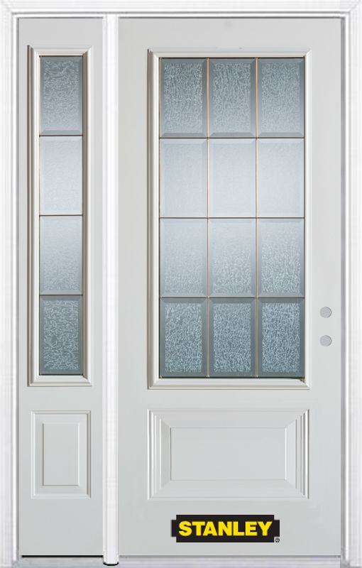 52-inch x 82-inch Diana 3/4-Lite 2-Panel White Steel Entry Door with Sidelite and Brickmould