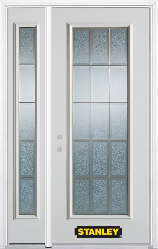 Stanley Doors 48.25 inch x 82.375 inch Diana Brass Full Lite Prefinished White Right-Hand Inswing Steel Prehung Front Door with Sidelite and Brickmould